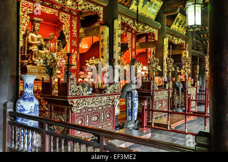 Hall dedicated to three influential monarchs in history of Imperial Academy, Temple of Literature, Hanoi, Vietnam - Stock Photo