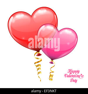 Valentine's Day Concept with Balloons in the form Heart. isolated on white background. - Stock Photo