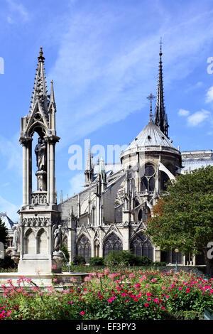 Garden at back side of Notre Dame de Paris, France - Stock Photo