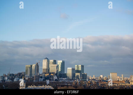 Canary Wharf on the Isle of Dogs from the Greenwich Royal Observatory, London, Uk - Stock Photo