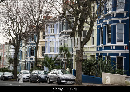 Row of houses in Kemptown, Brighton, East Sussex, England, Uk - Stock Photo