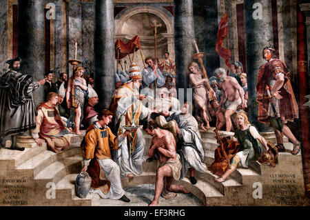 The Baptism of Constantine, was most likely painted by Gianfrancesco Penni, and shows the emperor being baptised - Stock Photo