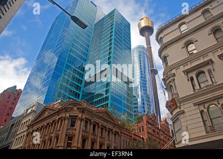 Westfield Centrepoint Tower, skyscrapers and old colonial buildings in the city centre of Sydney, New South Wales, - Stock Photo