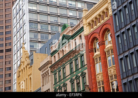 Colourful colonial buildings and skyscrapers in the city center of Melbourne, Victoria, Australia - Stock Photo