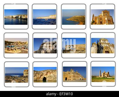 Travel Gozo Island Collage, one of the Maltese Islands - Stock Photo