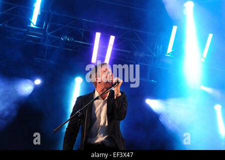 BARCELONA - MAY 30: The Walkmen (band) performs at Arc de Triomf for free on May 30, 2012 in Barcelona, Spain. - Stock Photo