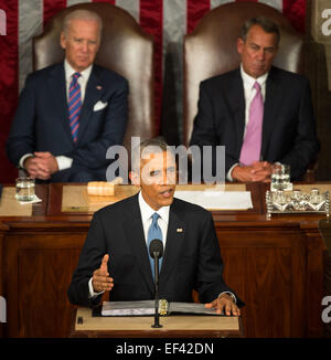 President Barack Obama delivers his State of the Union address to a joint session of Congress on Capitol Hill on - Stock Photo