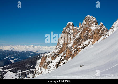 The Gross Cirspitze from near The Dantercepies lift near The summit of The Passo Gardena Selva Dolimtes Italy - Stock Photo