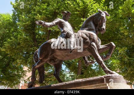 Statue of Paul Revere, North End, Paul Revere Mall, Boston, Massachusetts, USA - Stock Photo