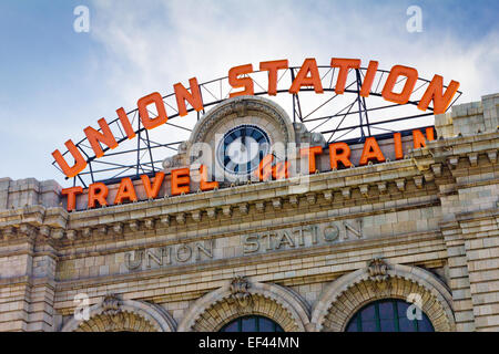 Union Station in downtown Denver, Colorado - Stock Photo
