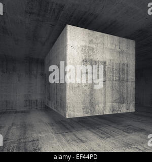 Abstract dark gray concrete room interior with flying cube. Square 3d background illustration - Stock Photo