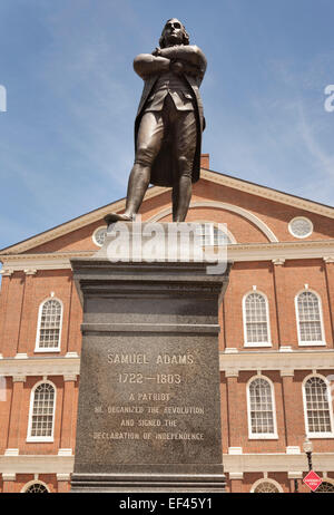 Statue of Samuel Adams outside Faneuil Hall, Boston, Massachusetts, USA - Stock Photo