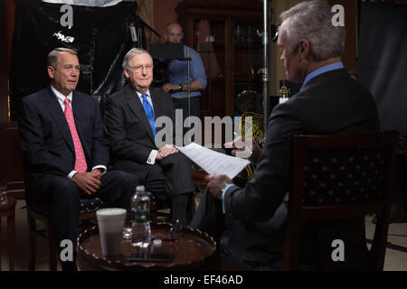 US Speaker of the House John Boehner and Senate Majority Leader Mitch McConnell sit down for a joint interview with - Stock Photo