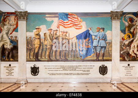 Military painting of the 104th US Infantry on a wall, Massachusetts State House, Beacon Street, Boston, USA - Stock Photo