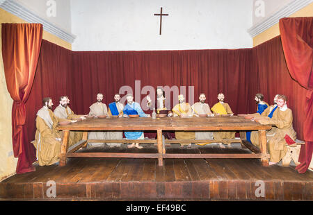 Tableau of Jesus and his disciples at The Last Supper, in Santa Catalina Convent in Arequipa, Peru - Stock Photo