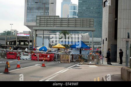 Aftermath of the clearing of the 'Occupy Hong Kong' site on Harcourt Road, Central, Hong Kong Island. - Stock Photo