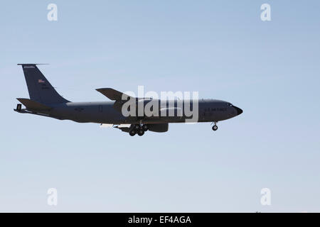 A KC-135 from the New Hampshire Air National Guard prepares to land - Stock Photo