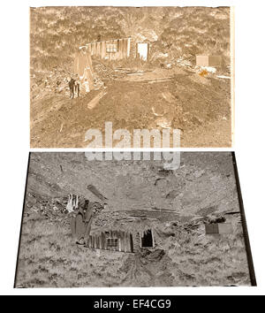 Late 19th century or early 20th century glass plate negative and positive print of a mine, miner and his dog in - Stock Photo