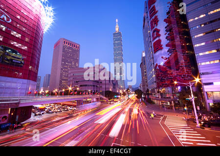Taipei, Taiwan - Dec 30, 2014:  Taipei, Xinyi District at night (including Taipei 101). The Xinyi District is the - Stock Photo
