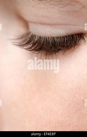 eyelash boy 8 years old close up - Stock Photo