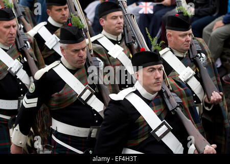 Members of the Atholl Highlanders, Europe's only private army, marching during Pipefest Stirling, an event staged - Stock Photo