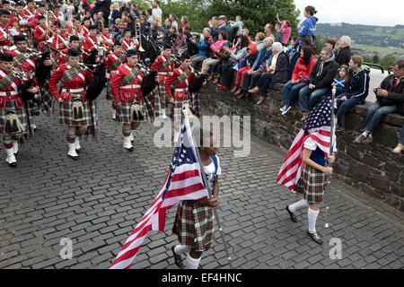 Members of a traditional Scottish pipe band from Dunedin, Florida marching during Pipefest Stirling, an event staged - Stock Photo