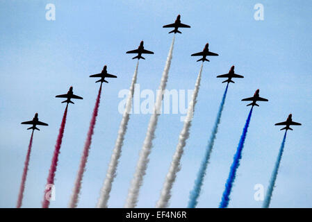 The Red Arrows, officially known as the Royal Air Force Aerobatic Team, is the aerobatics display team of the Royal - Stock Photo
