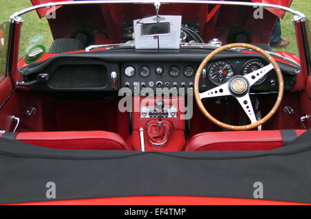 the interior of a classic jaguar e type racing car stock photo royalty free image 74883625 alamy. Black Bedroom Furniture Sets. Home Design Ideas