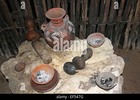 Mayan Pots, Gourds And Incense Burners In The Traditional Maya House At Belize Botanic Gardens - Stock Photo