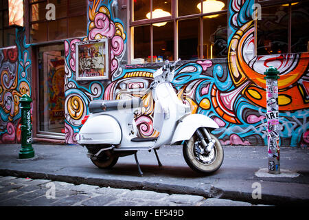 Melbourne, Australia - December 20 - Melbourne's famous Hosier Lane with motorcycle and graffiti on December 20th - Stock Photo