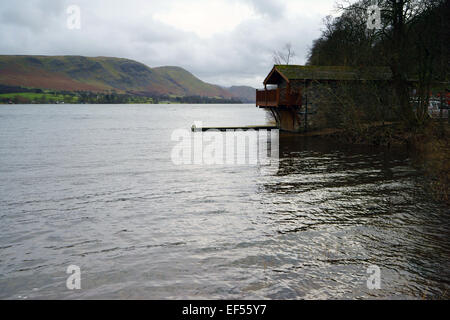 Duke of Portland boathouse on Ullswater in the Lake District National Park, Cumbria - Stock Photo