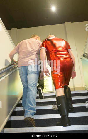 2 men at Butlins stag party Minehead punk weekend - Stock Photo