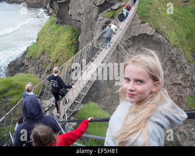 Carrick-a-Rede Rope Bridge Northern Ireland - Stock Photo