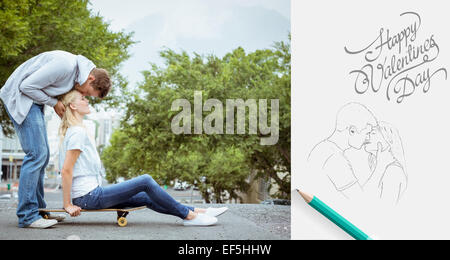 Composite image of hip young blonde sitting on skateboard with boyfriend kissing forehead - Stock Photo