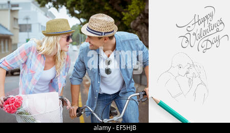 Composite image of hip young couple going for a bike ride - Stock Photo
