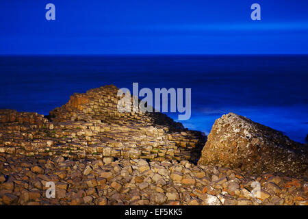 Giants Causeway at night in the blue hour north antrim coast northern ireland - Stock Photo
