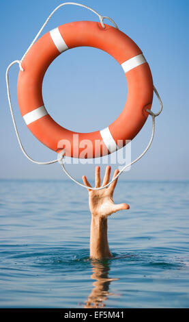 Lifebuoy for man in danger. Rescue situation concept. - Stock Photo