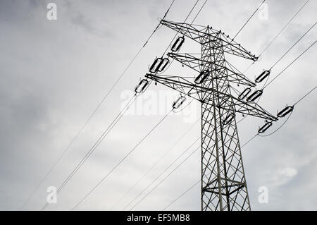 Electric power transmission or power grid pylon wires - Stock Photo