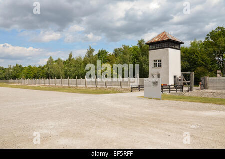View of the tower and the electric fence system - Stock Photo