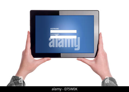 Hands holding Digital Tablet Computer with Login Web Page Form displayed - Stock Photo