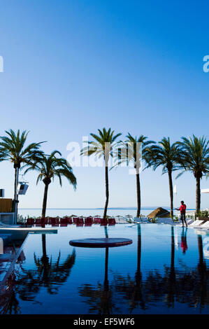 Swimming Pool by seafront, Ibiza, Spain - Stock Photo