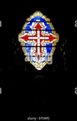 Stained glass in the interior of Basilica Menor Inmaculada Concepcion, Cathedral of Merida. Merida, Merida, Venezuela. - Stock Photo