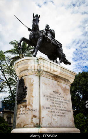 Equestrian statue of Simon Bolivar at Bolivar Square (Plaza Bolivar). Merida, Merida, Venezuela. - Stock Photo