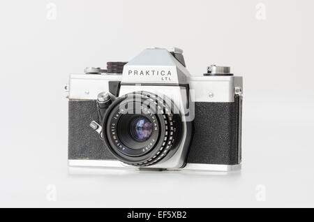 Silver Praktica LTL 35mm film slr camera - Stock Photo