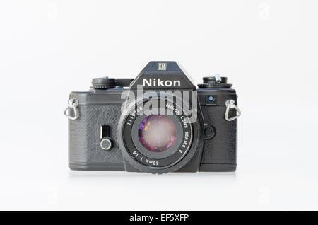 Black Nikon EM film slr camera - Stock Photo