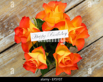 Happy Birthday Card With Bouquet Of Orange Roses On White