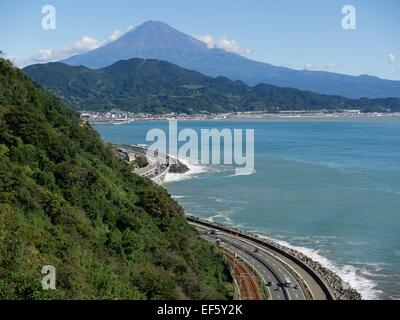 Mount Fuji, Tomei Expressway and Suruga Bay in Japan - Stock Photo