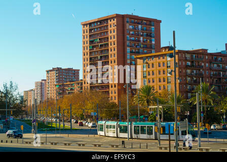 Tram turning to Diagonal street, Diagonal Mar, Sant Marti district, Barcelona, Spain - Stock Photo