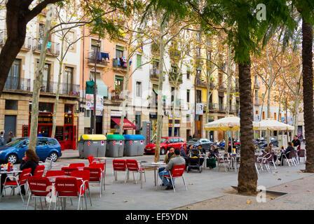 Rambla de Raval boulevard, El Raval district, Barcelona, Spain - Stock Photo