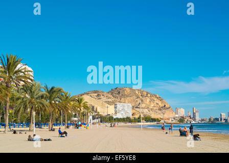 Playa del Postiguet, Alicante, Alacant, Costa Blanca, Spain - Stock Photo